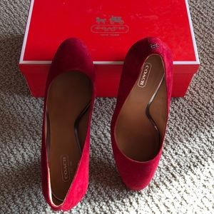 Coach red suede shoes
